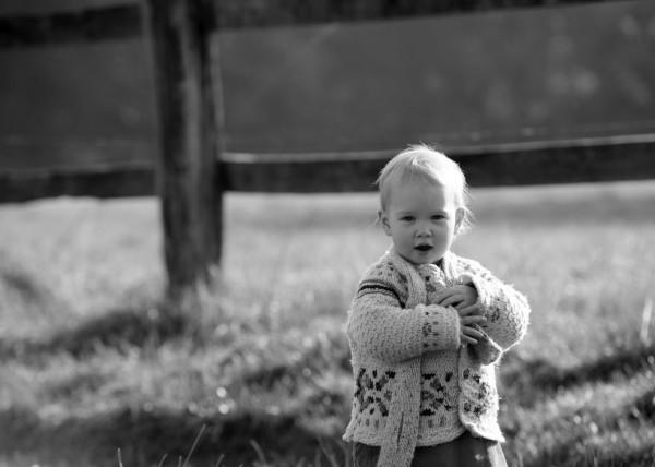Kleines Mädchen vor Weidezaun